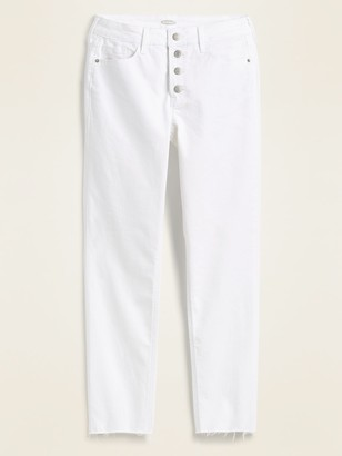 Old Navy High-Waisted Button-Fly Power Slim Straight White Cut-Off Jeans for Women