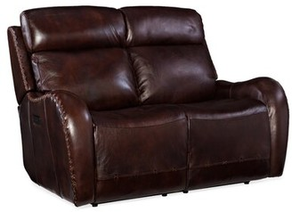 "Hooker Furniture Chambers 58.25"" Wide Genuine Leather Charles of London Reclining Loveseat"