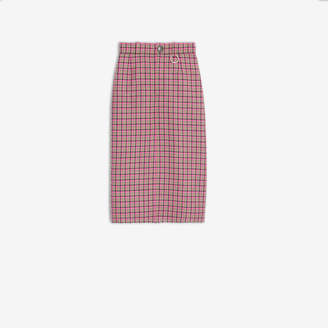 Balenciaga Pleat Skirt in grey and pink checked virgin wool