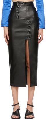 MATÉRIEL Black Faux-Leather Mid-Length Skirt