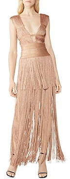 Herve Leger Deep V Neck Fringe Dress