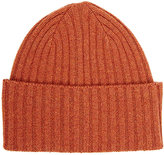 Drakes Drake's Men's Rib-Knit Lambswool Cap-ORANGE, RED