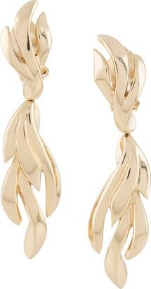Susan Caplan Vintage 1980s Grosse leaf-motif clip-on earrings