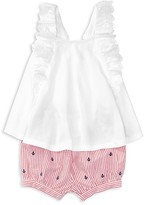 Ralph Lauren Girls' Eyelet Flutter Top & Seersucker Shorts Set - Baby