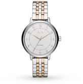 Armani Exchange Ladies Silver and Rose Gold Bracelet Dress Watch