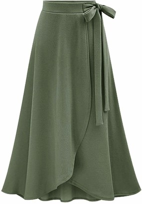YULUOSHA Women's Casual A-Line High Waist Stretched Bow Tie Pleated Swing Long Flared Midi Maxi Skirt - Green - 5X-Large