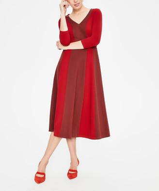 Boden Women's Casual Dresses Maroon - Brown Color Block Erin Ponte Midi Dress - Women, Women's Tall & Petite