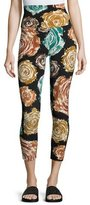 Norma Kamali High-Rise Floral-Print Cropped Sport Leggings