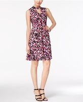 NY Collection Mock-Neck A-Line Dress