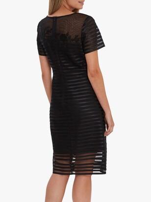 Gina Bacconi Millicent Lace Stripe Midi Dress, Black