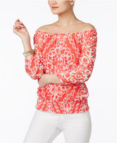 INC International Concepts Printed Off-The-Shoulder Top, Only at Macy's