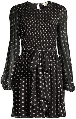 Shoshanna Walker Dotted Tie-Waist Dress