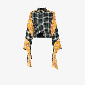 Rave Review Yara Floral Panel Checked Shirt