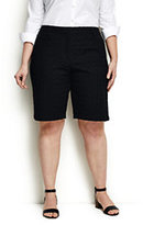 "Classic Women's Plus Size Mid Rise 10"" Eyelet Shorts-Black"