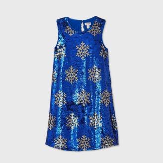 Cat & Jack Girls' Sleeveless Flip Sequin Snowflake Dress - Cat & JackTM