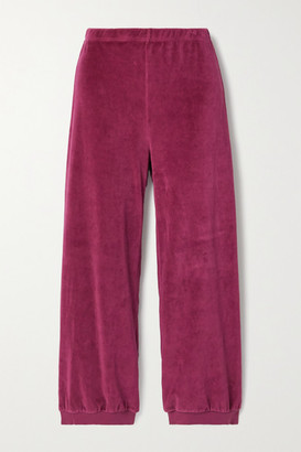 SUZIE KONDI Stretch Cotton-blend Velour Track Pants - Magenta