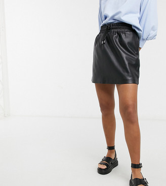 Topshop Petite drawstring faux-leather mini skirt in black