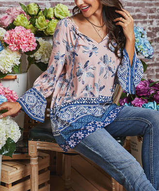 Suzanne Betro Weekend Women's Tunics 101PINK - Pink Floral & Geometric Smocked Bell-Sleeve Tunic - Women
