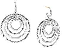 David Yurman Sterling Silver Stax Large Drop Earrings with Diamonds