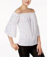 Kensie Polka-Dot Off-The-Shoulder Top