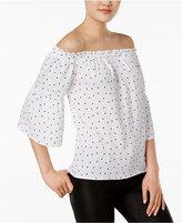 Kensie Polka-Dot Off-The-Shoulder Top