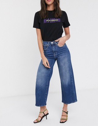 Only Madison high waisted crop wide leg denim jeans