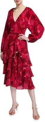 Figue Kira Floral Print Georgette Midi Dress