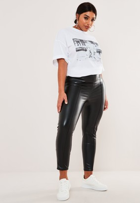 Missguided Plus Size Black Faux Leather Pin Tuck Leggings