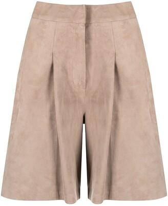 Arma Wide-Leg Leather Shorts