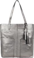 Accessorize Leather Croc Double Pocket Shopper Bag