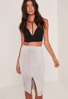 Missguided Slinky Split Front Midi Skirt Grey