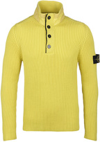Stone Island Neon Yellow Funnel Neck Ribbed Knit Sweater