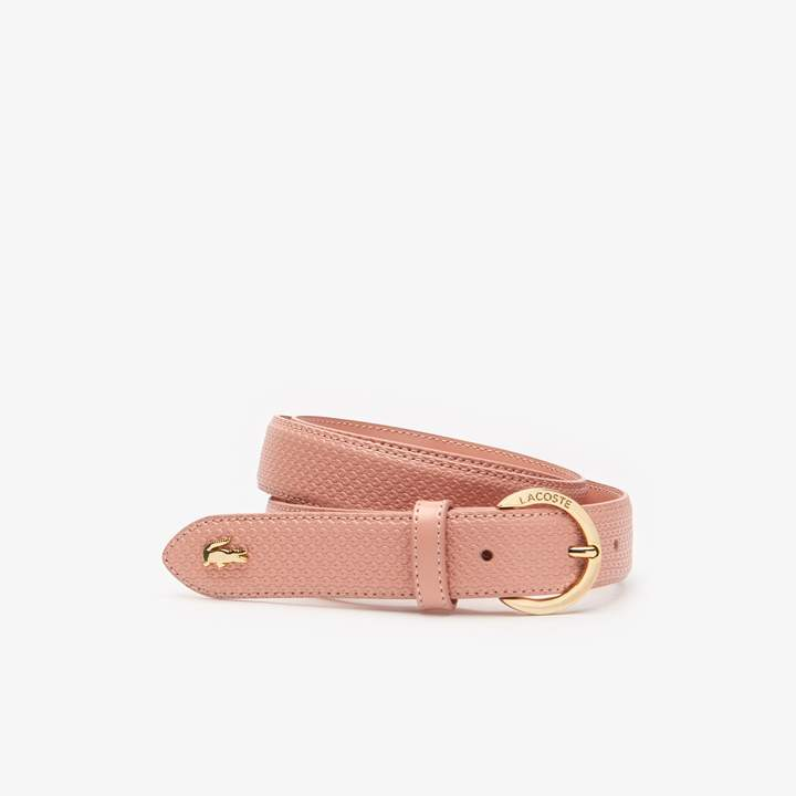 Lacoste Women's Chantaco Engraved Round Buckle Leather Belt