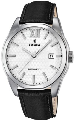 Festina Men's Automatic Watch with White Dial Analogue Display and Black Leather Strap F16885/2