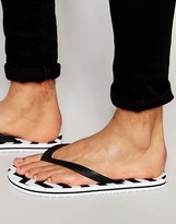 Asos Flip Flops With Black and White Print