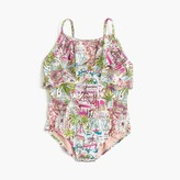 J.Crew Girls' ruffle one-piece swimsuit in harbor print