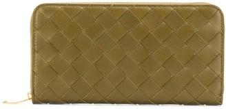 Bottega Veneta leather zip-around woven wallet