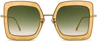 Bottega Veneta Metal Square Sunglasses in Opal Yellow   FWRD