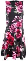 Jessica Simpson Women's Floral Scuba A-Line Dress (4, Black Multi)
