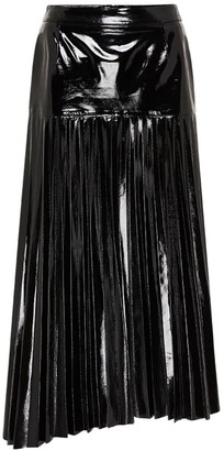 West 14th Park Avenue Pleat Skirt Glossy Black Leather