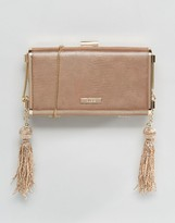 Aldo Rose Gold Box Clutch With Cross Body Chain