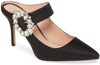 J.Crew Elsie Mary Jane Satin Mule with Jewel Buckle