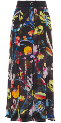 Giorgio Armani Fluted Printed Mulberry Silk Maxi Skirt