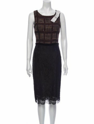 Dolce & Gabbana Lace Pattern Midi Length Dress Brown