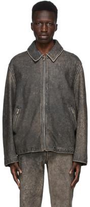 we11done Black Leather Washed Jacket