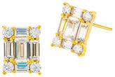 Crislu Cubic Zirconia and 18K Goldplated Sterling Silver Florettes Geometric Stud Earrings