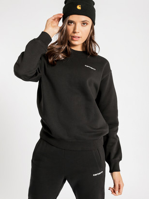 Carhartt Wip Script Embroidery Sweatshirt in Black White