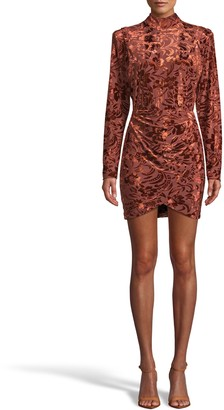 Nicole Miller Floral Velvet Burnout Mock Neck Mini Dress
