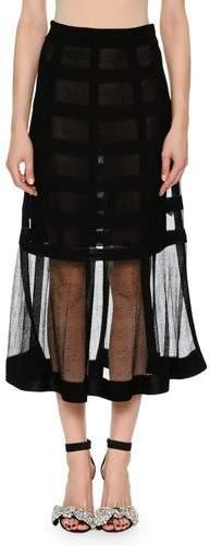 Alexander McQueen Sheer-Grid Mesh Tea-Length Pull-On Skirt