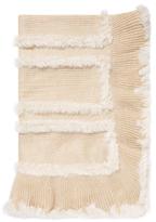 Adrienne Landau Rabbit Fur Knit Ribbed Throw